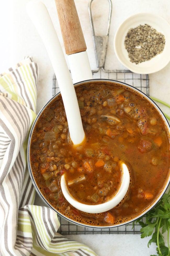 pot of lentil soup