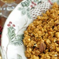 This is the Best Caramel Corn ever!   This homemade caramel corn is perfect for holiday parties or wrap in cellophane bags with ribbons and give as gifts