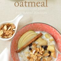 If you want to learn how to make oatmeal taste good like, you're going to love this Hot Oatmeal Cereal recipe.  It's loaded with pears, raisins and nuts and a hint of cinnamon