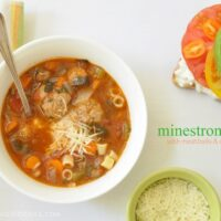 This Minestrone Soup is a richly flavored vegetable soup with ground turkey meatballs and pasta noodles