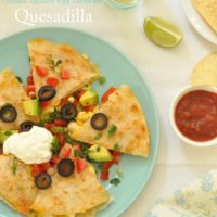 These Breakfast Quesadillas are filled with chicken, scrambled eggs, spinach and cheese