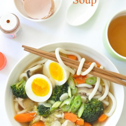 Chicken Udon Soup is a delicious Japanese soup that's loaded with meats, vegetables and udon noodles all simmered in a delicious Japanese soup base.
