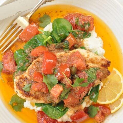 Mediterranean Chicken with Garlic Tomato Sauce