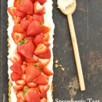 This Oatmeal Cookie Crust Strawberry Tart is a delicious fresh strawberry dessert recipe to make during the warm summer months