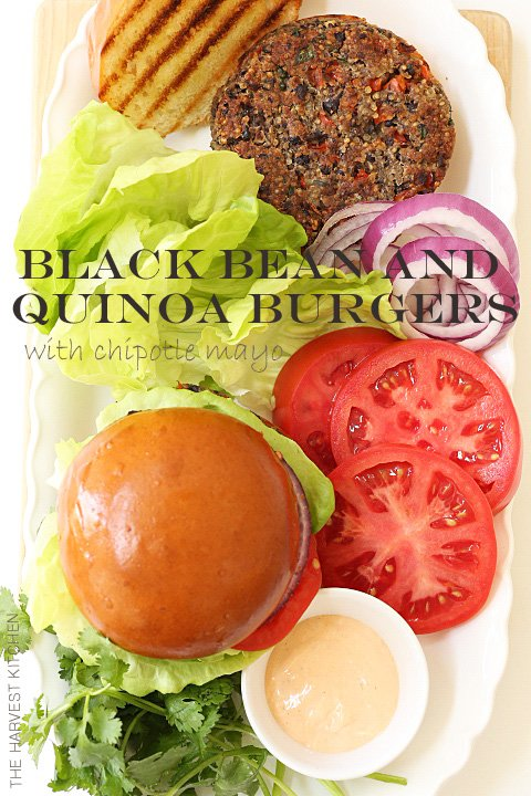 Moist and tender Quinoa Black Bean Burgers made with black beans, quinoa, vegetables all topped with a chipotle mayonnaise