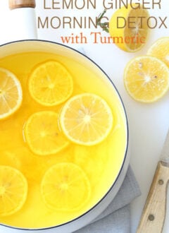 Pot with lemon ginger detox drink