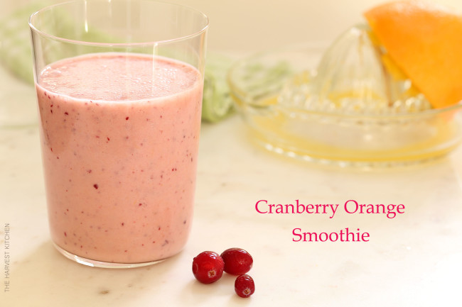 The Cranberry Orange Smoothie is made with fresh orange juice and frozen cranberries