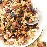 This homemade Healthy Trail Mix is a balanced blend of nuts, seeds and dried fruits without any added sugar