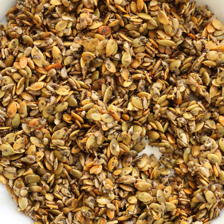 These easy to make Honey Roasted Pumpkin Seeds mixed with sunflower and chia seeds will have you hooked at first bite