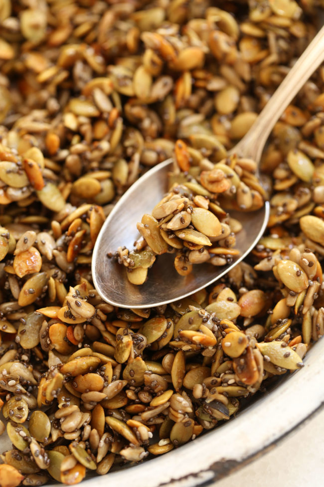 dish with honey roasted pumpkin seeds