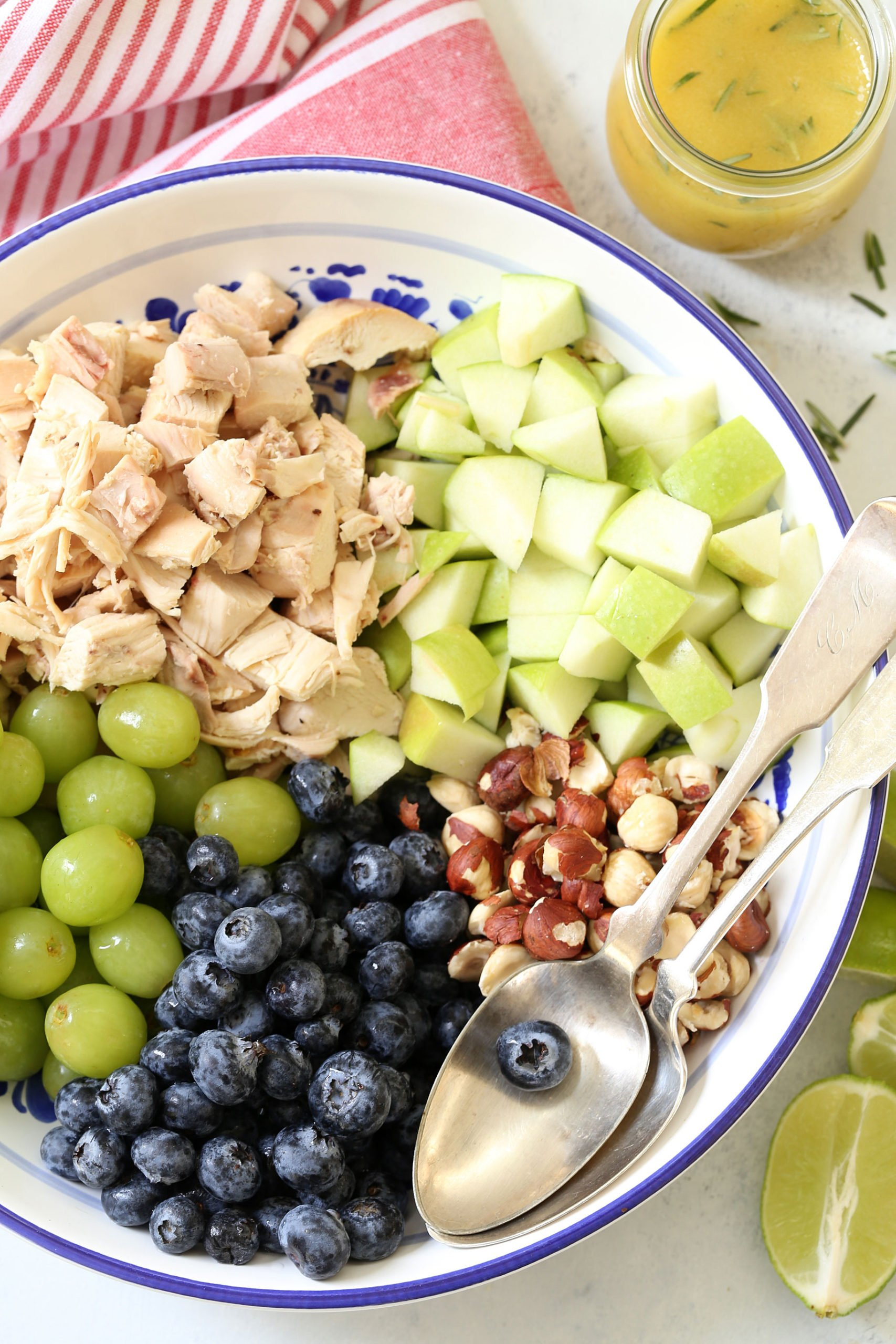 This Blueberry Chicken Salad is loaded with chopped chicken, blueberries, grapes, apple and hazelnuts all tossed in a delicious rosemary lime vinaigrette