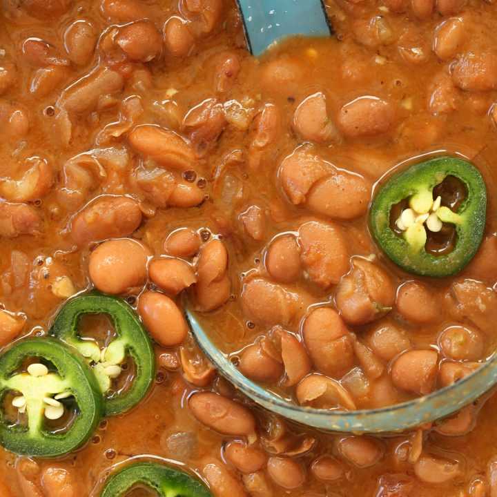 These Vegetarian Borracho Beans are chock full of flavor and make a really great side dish for any Mexican themed meal you may be planning