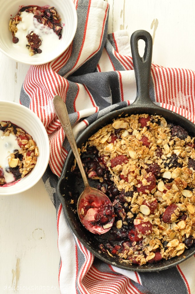 This Summer Fruit Crisp is made with a mix of blueberries, raspberries and blackberries and a crispy oat topping.