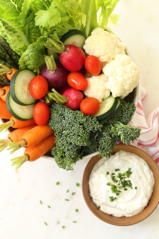 This low-fat Skinny Greek Yogurt Ranch Dip is an easy homemade ranch dip to make and serve with an assortment of fresh vegetables