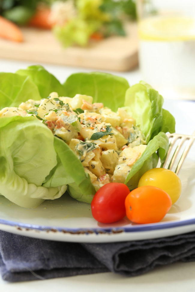 This Loaded Low Fat Egg Salad is creamy and crunchy and loaded with veggies