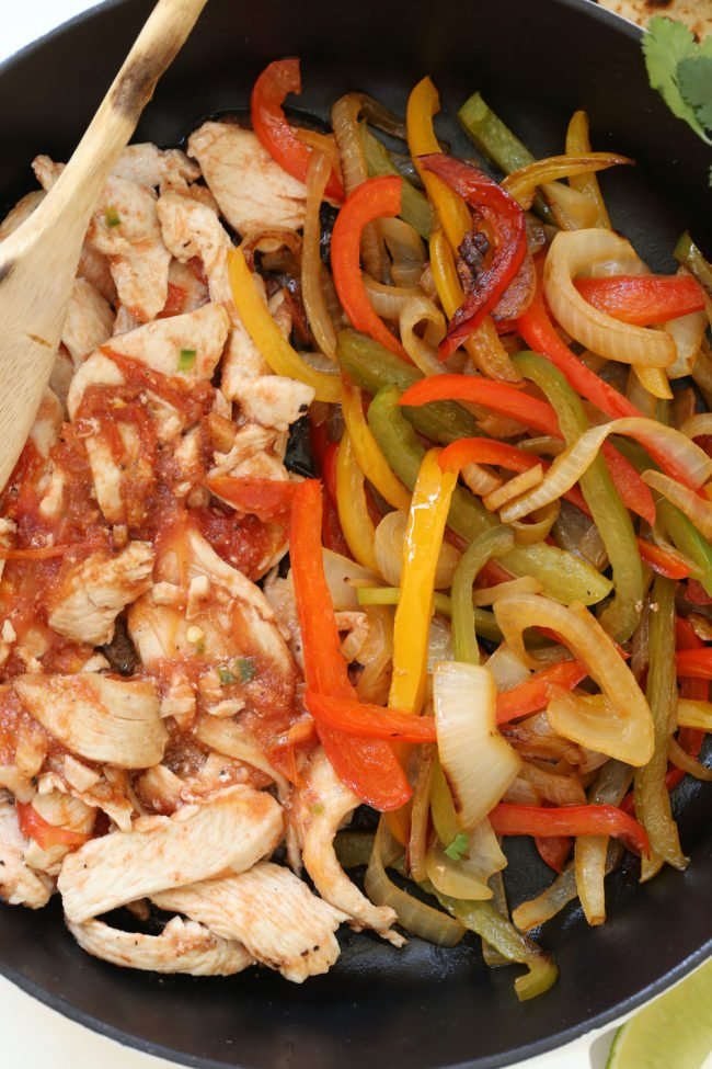 skillet of chicken and grilled vegetables - easy Mexican dinner recipes