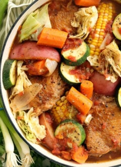Caldo de Pollo is a Mexican chicken soup that's crowded with fresh corn, zucchini, carrots, cabbage all simmered in a richlly flavored broth