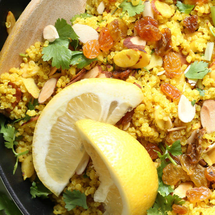 This Lemony Quinoa with Turmeric is ightly spiced with curry, turmeric and cumin, and it makes a great healthy side dish to grilled fish or chicken