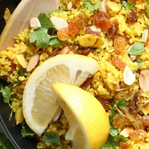skillet with lemon quinoa