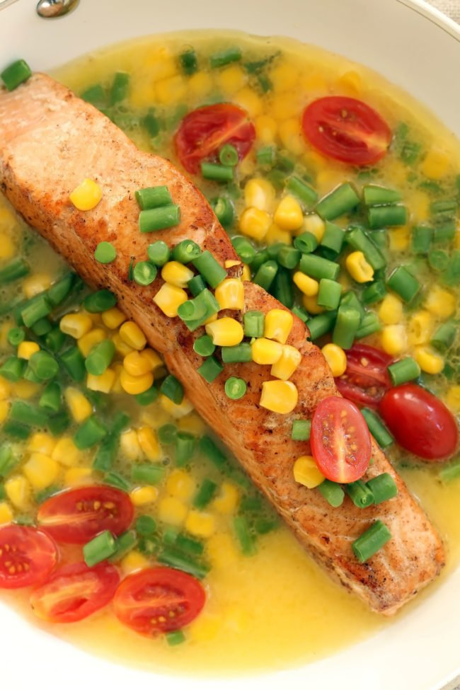 This healthy Seared Salmon with Summer Succotash is a quick and easy dinner to make any night of the week