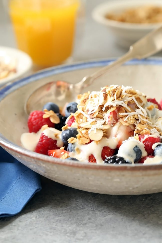 This Banana Orange Yogurt Sauce is a great replacement for milk to pour over your morning oatmeal, or to soak your overnight oats in, and it's especially delicious poured over a big bowl of juicy ripe berries