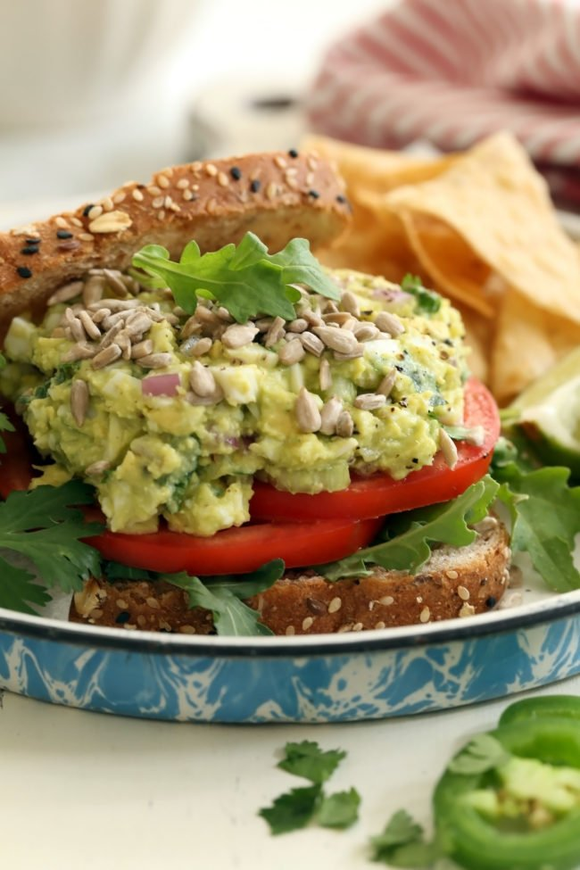This Avocado Egg Salad is made with avocado, celery, purple onion, cilantro, jalapeño and lime juice