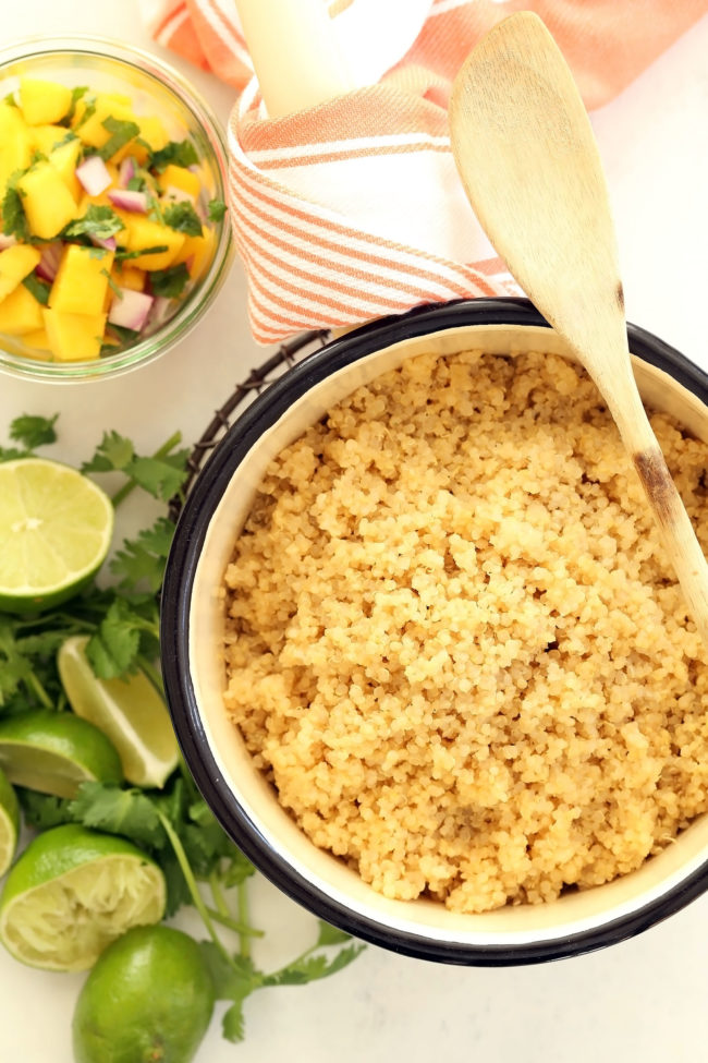Enjoy this Pineapple Coconut Quinoa alone or as a side dish to grilled chicken or fish. The combo of flavors here is light and summery and fresh and luscious