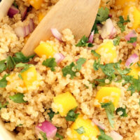 This quick and easy Pineapple Coconut Quinoa makes a perfect quinoa side dish to serve with grilled chicken or fish or as a vegan main