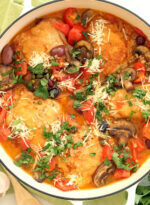 Pan of Italian chicken and tomatoes