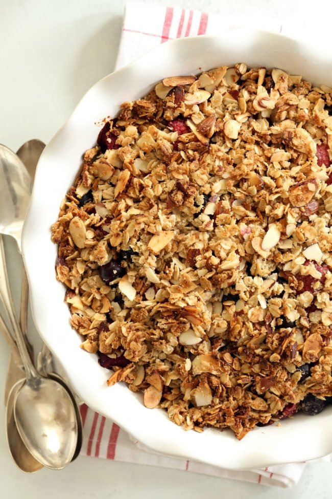 This Summer Fruit Crisp is made with a mix of blueberries, raspberries and blackberries and a crispy oat topping