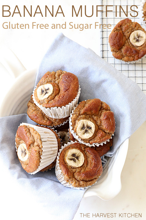 These light and airy Gluten Free Banana Muffins are made with coconut flour, almond butter, bananas, eggs and a little coconut oil.