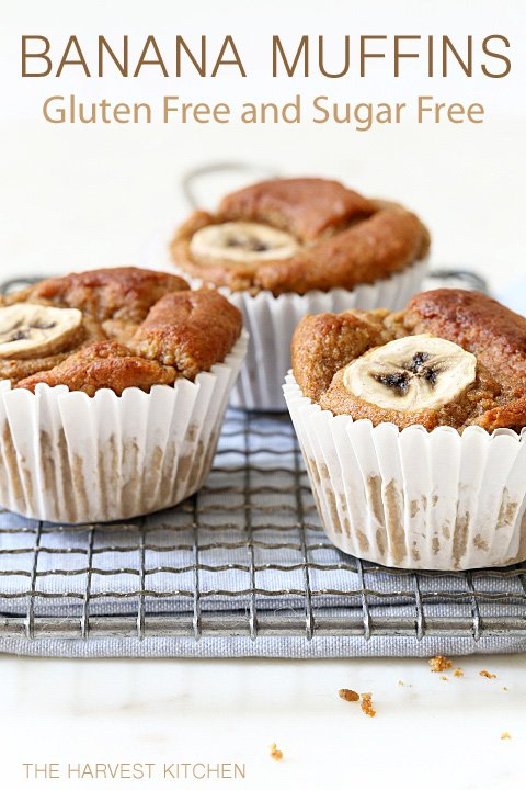 These light and airy Gluten Free Banana Muffins are made with coconut flour, almond butter, bananas, eggs and a little coconut oil