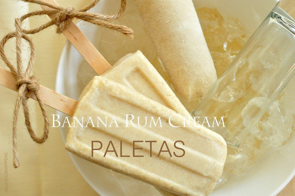 Roasted Banana Cream Paletas have a wee bit of rum and might remind you slightly of banana fosters