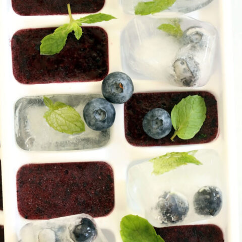 These Antioxidant Rich Blueberry Ice Cubes are made with pureed fruit and make refreshing blueberry water, blueberry iced tea and blueberry lemonade
