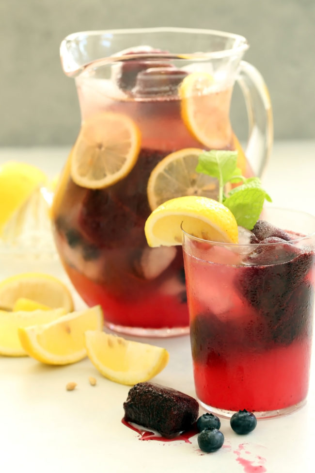 Blueberry Lemonade is a blend of freshly squeezed lemon juice, fresh blueberries, raw honey and water to make a delicious summer drink