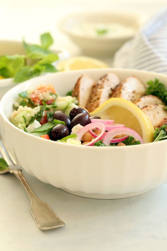 bowl of grilled chicken and salad