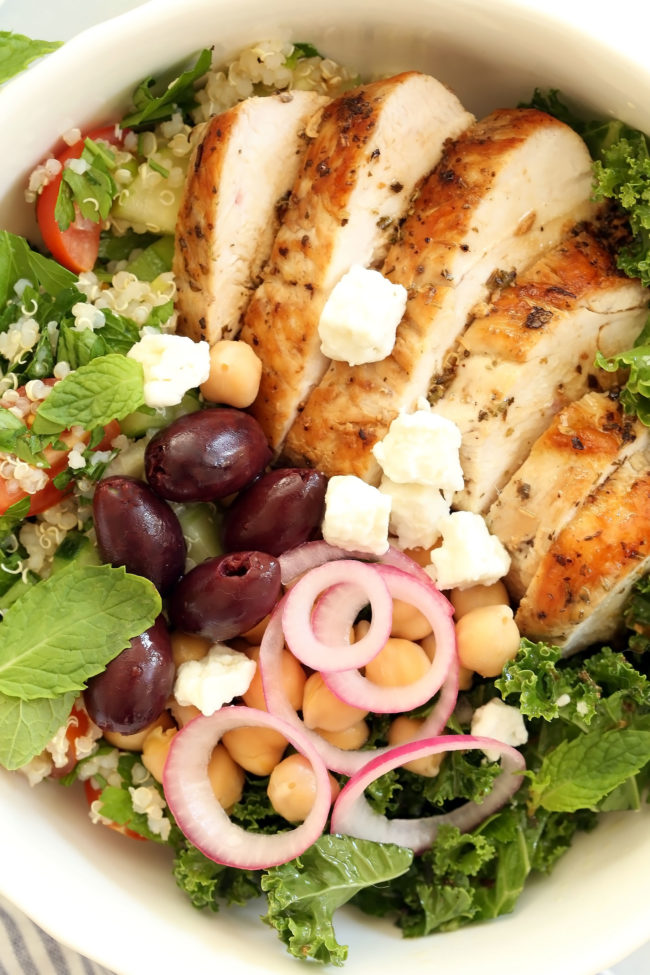 bowl of grilled chicken with salad