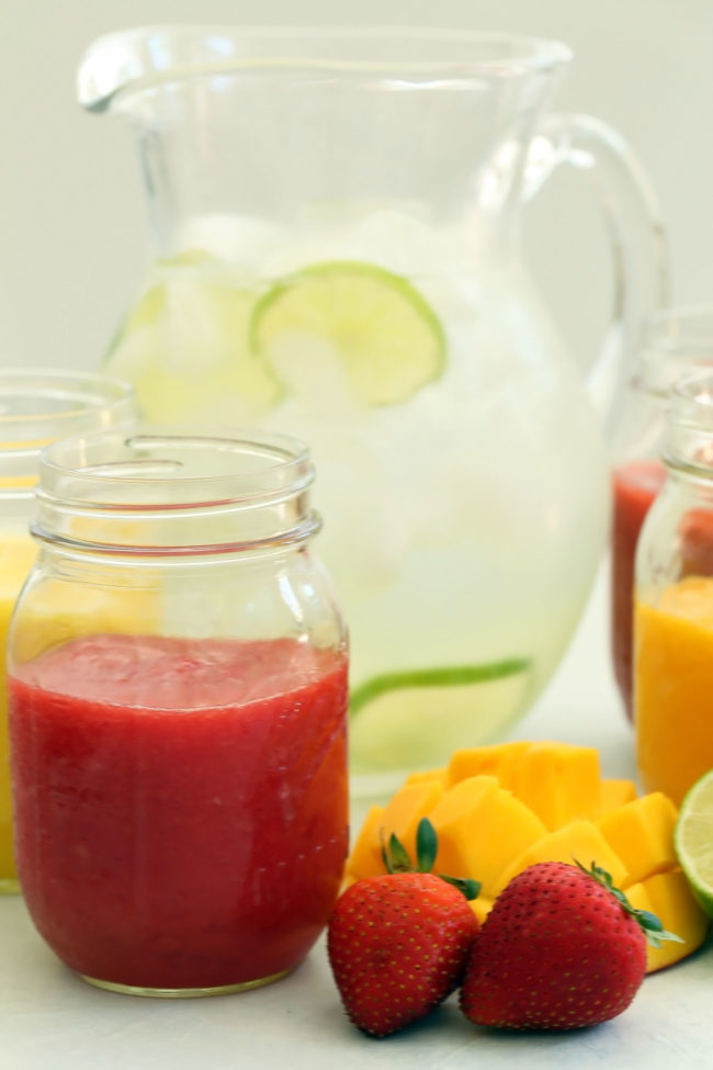 Agua Frescas (also called fruit water) are an exotic tasting drink that's made with fresh fruit puree, water and lime juice