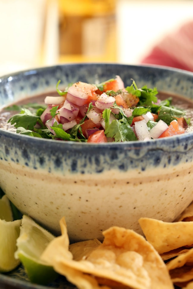 Serve this Chipotle Black Bean Dip with tortilla chips or an assortment of fresh vegetables