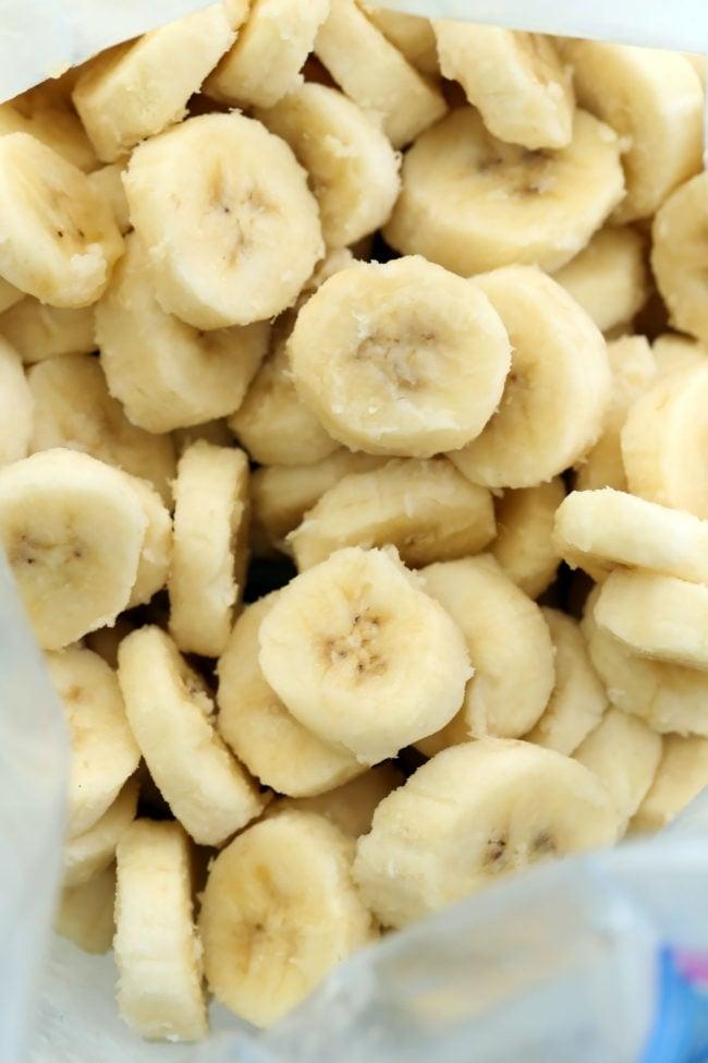 baggie of frozen slices of banana