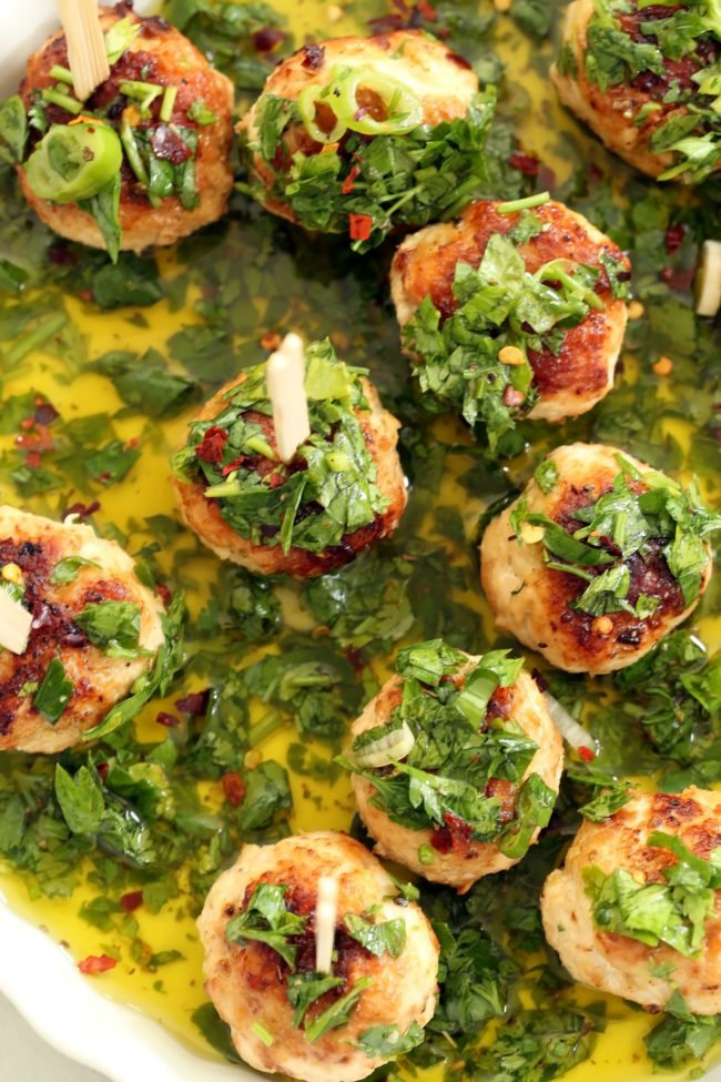 These crowd-pleasing Chicken Chimichurri Cocktail Meatballs are guaranteed to be a hit at your next party