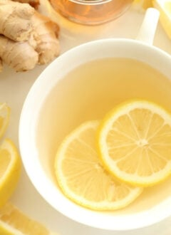 Cup of ginger tea with lemon