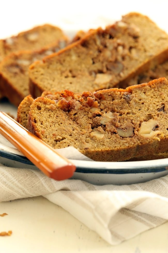 Gluten Free Pumpkin Bread is an easy pumpkin bread recipe made with almond flour, coconut flour, pure maple syrup and a nutty streusel