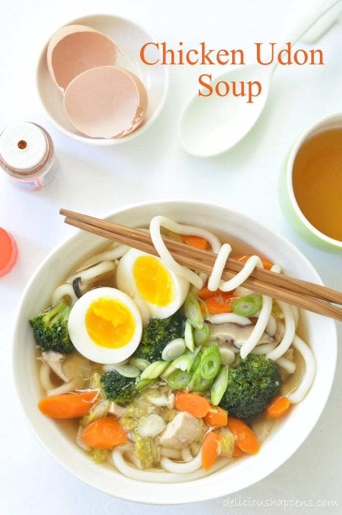 Chicken Udon Soup is a delicious Japanese soup that's loaded with meats, vegetables and udon noodles all simmered in a delicious Japanese soup base