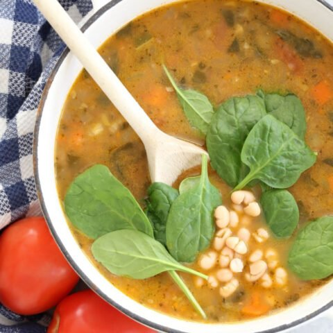 pot of white bean and spinach soup