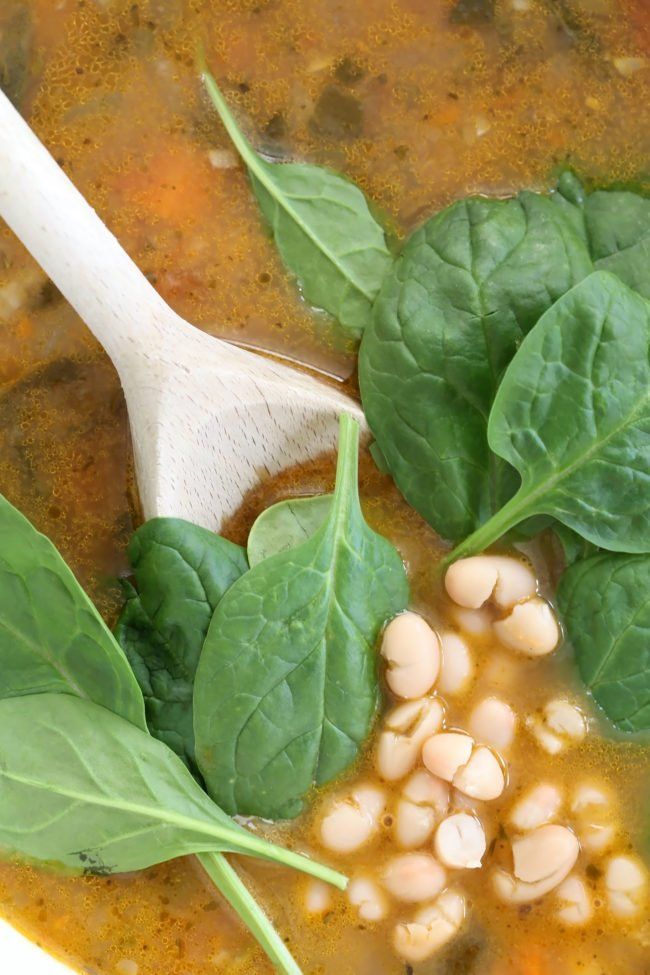 This Vegetarian Tuscan White Bean Soup is loaded with onion, carrots, tomatoes, zucchini, celery, white beans, spinach, oregano, thyme, fennel and parsley