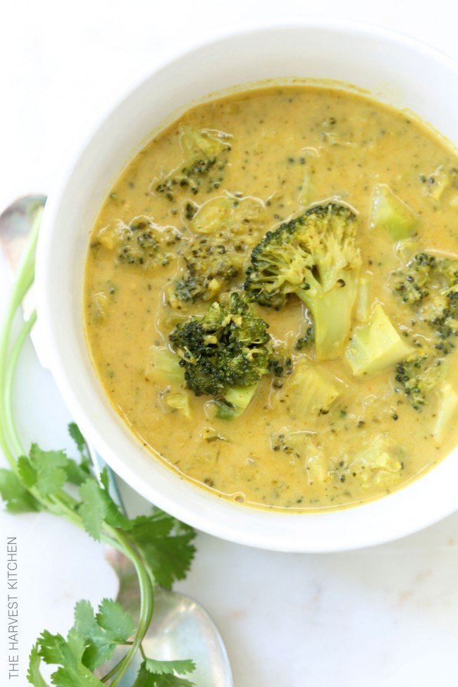 bowl of chunky broccoli soup