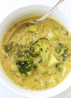 bowl of chunky broccoli soup