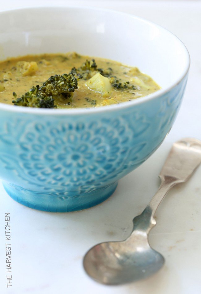 This Coconut Curry Broccoli Soup is a chunky vegan broccoli soup recipe