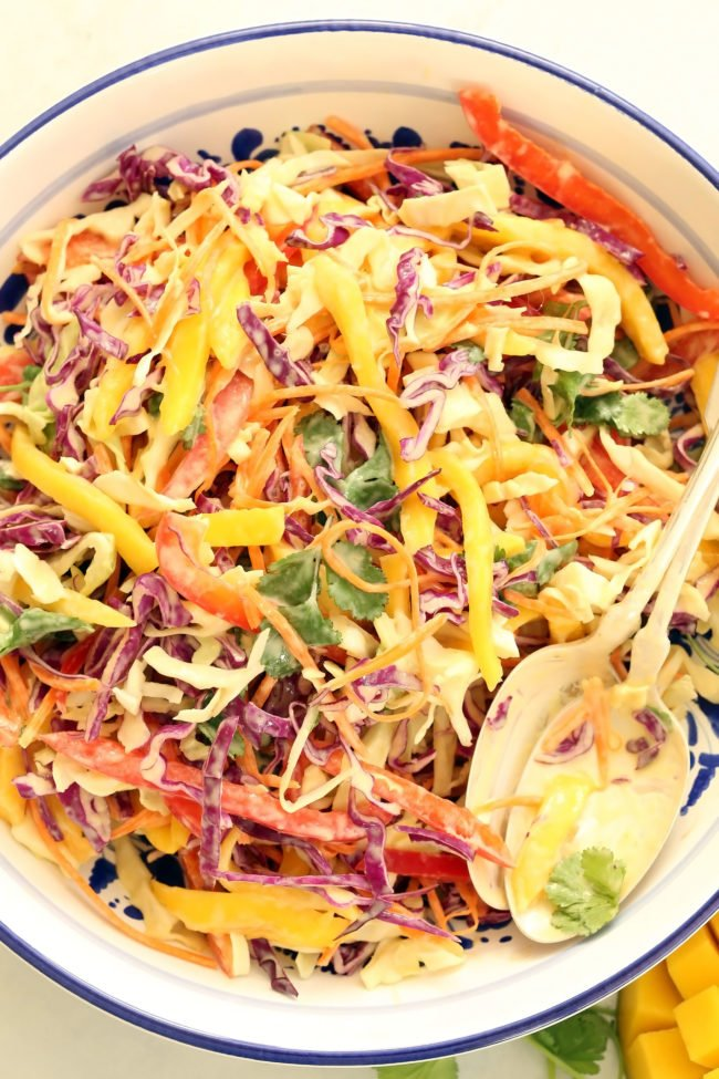 bowl of healthy coleslaw with citrus dressing
